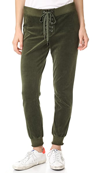 Pam & Gela Cropped Velour Lace Up Sweatpants - Olive