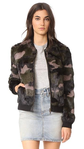 Pam & Gela Camo Printed Fur Bomber Jacket