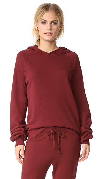 Pam & Gela Distressed Sweatshirt In Black/Burgundy