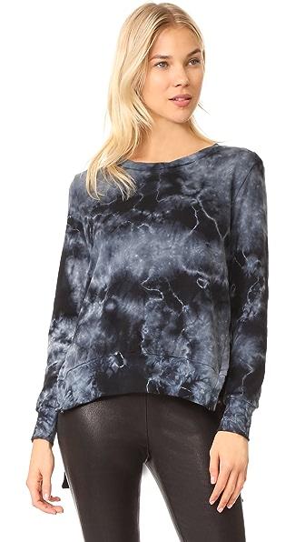 Pam & Gela Tea Stain Tie Dye Side Slit Sweatshirt In Black/Heather Grey Tie Dye