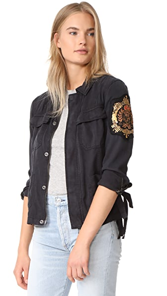 Pam & Gela Cargo Jacket with Crest Patch - Washed Black
