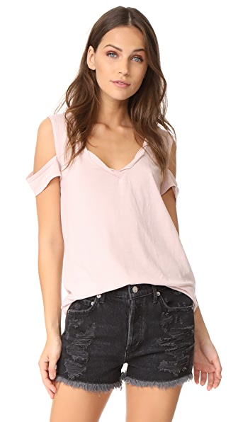 Pam & Gela V Neck Cold Shoulder Tee - Pale Pink