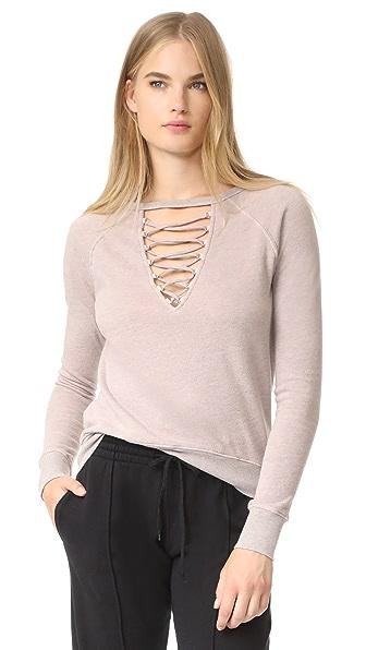 Pam & Gela Lace Up Sweatshirt - Pale Pink