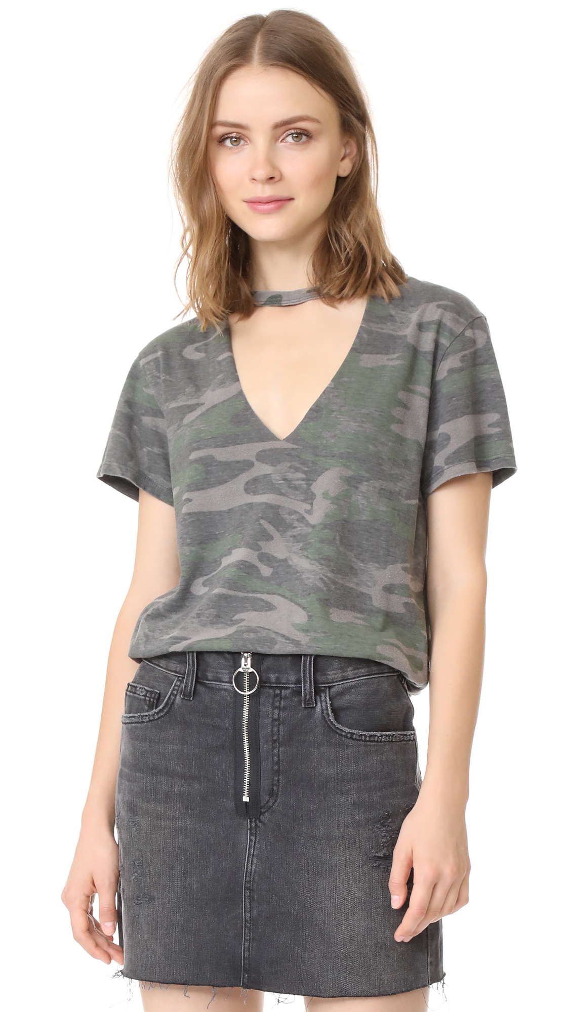 Pam & Gela Open Chest Tee - Army Camo