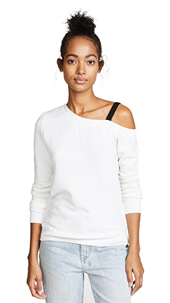 Pam & Gela One Shoulder Sweatshirt with D-Ring Strap In Snow White