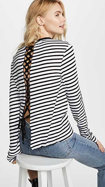 Pam & Gela Lace Up Back Long Sleeve Tee