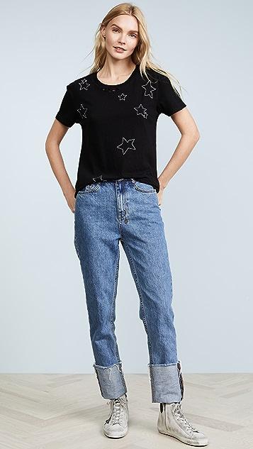 Pam & Gela Destroyed Allover Embellished Stars Tee