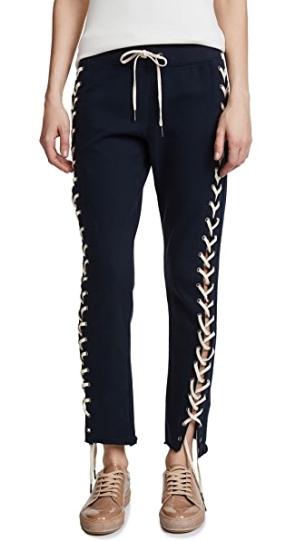 Pam & Gela Cropped Lace up Sweatpants In Neat Navy