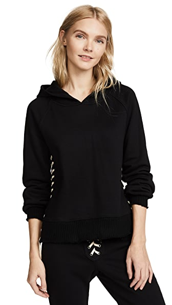 Pam & Gela Hollywood Hoodie with Lace Up Side Seam In Black