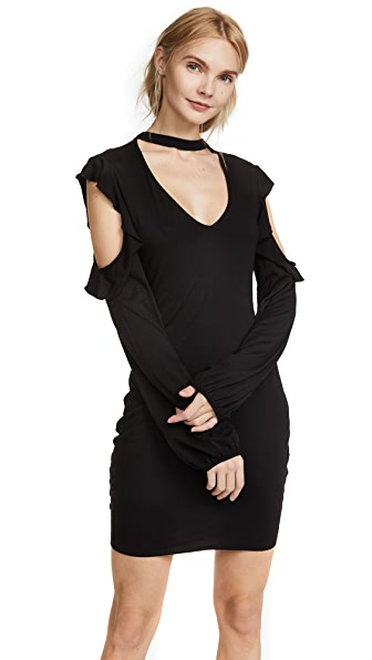 Pam & Gela Cold Shoulder Choker Dress In Black
