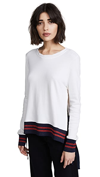 Pam & Gela Side Slit Sweatshirt In Snow White