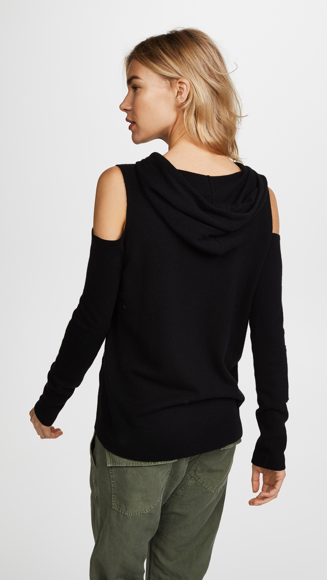 ebcfa98f6ab5be Pam   Gela Cold Shoulder Cashmere Hoodie