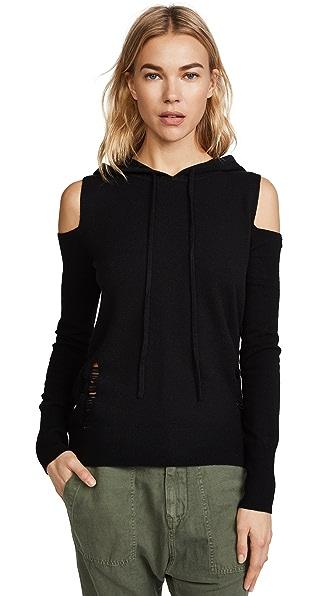 Pam & Gela Cold Shoulder Cashmere Hoodie In Black