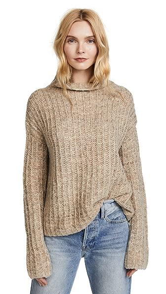Pam & Gela Funnel Neck Sweater In Oatmeal