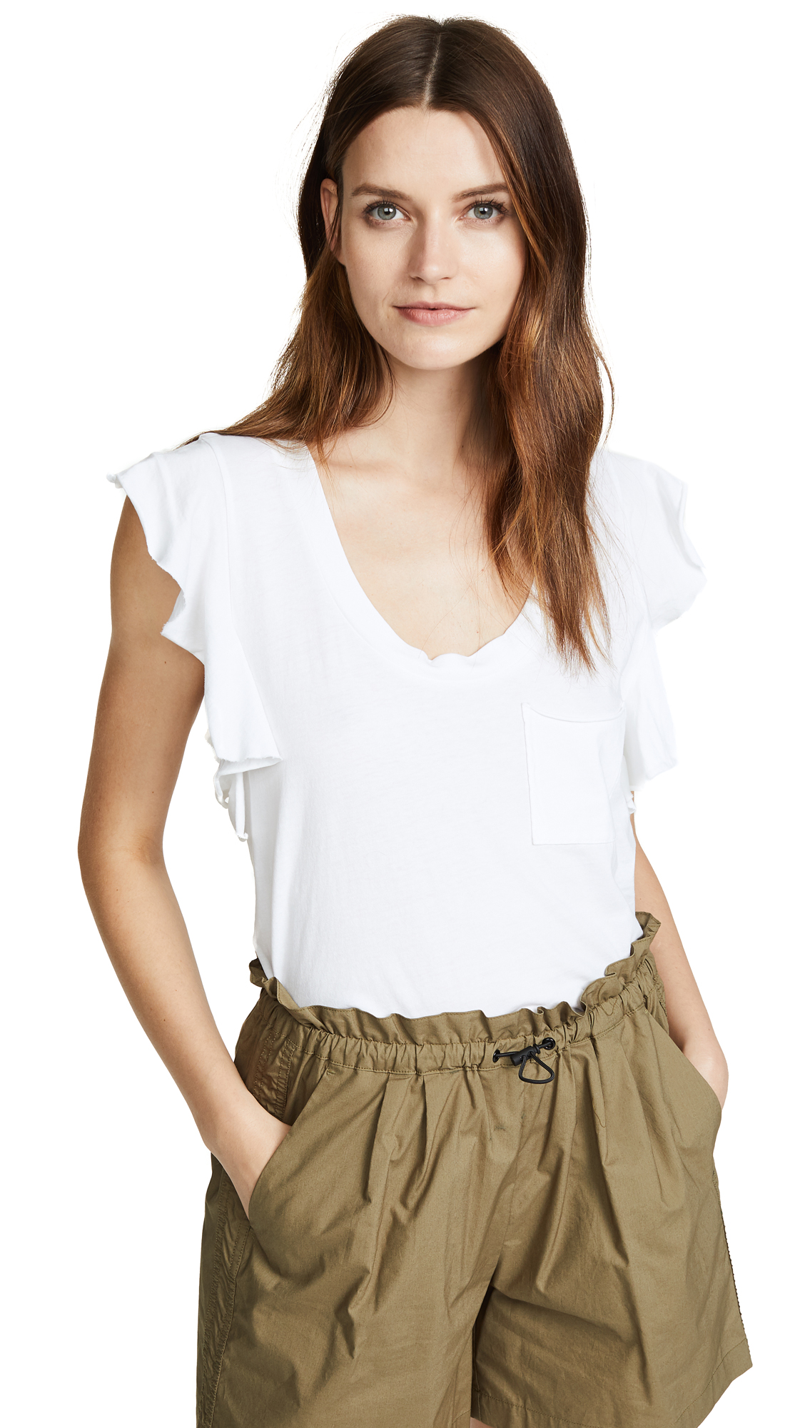 Raw-Edge Flutter-Sleeve Tee in White