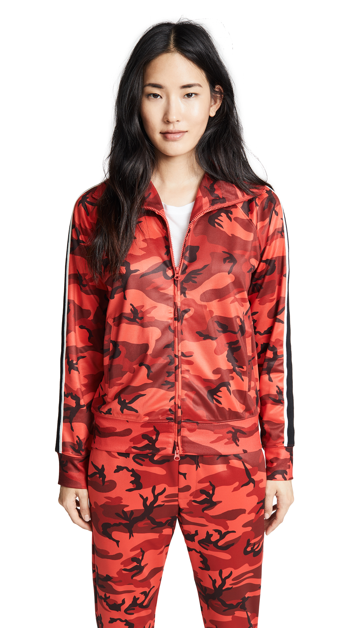 Pam & Gela Camo Track Jacket In Red Camo Print