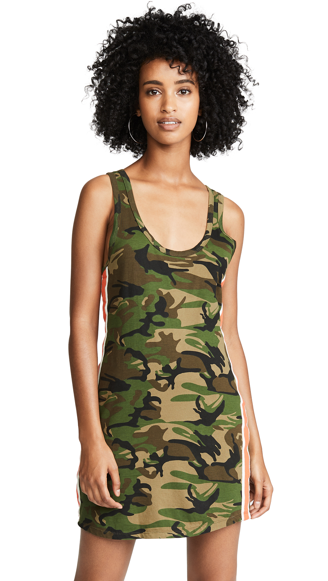 Tank Dress With Side Stripes in Army Camo