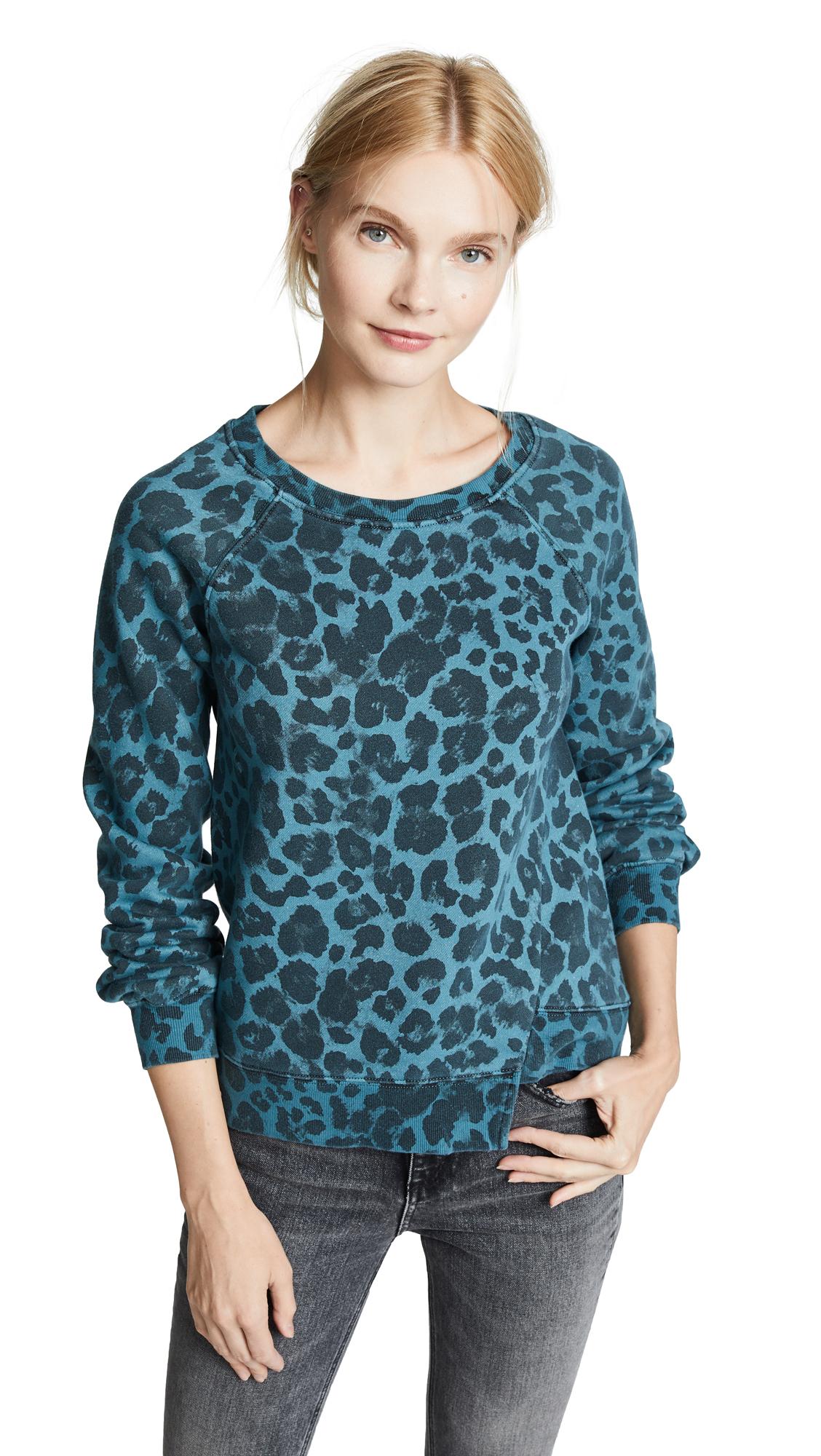 Pam & Gela Leopard Sweatshirt In Blue Leopard Print