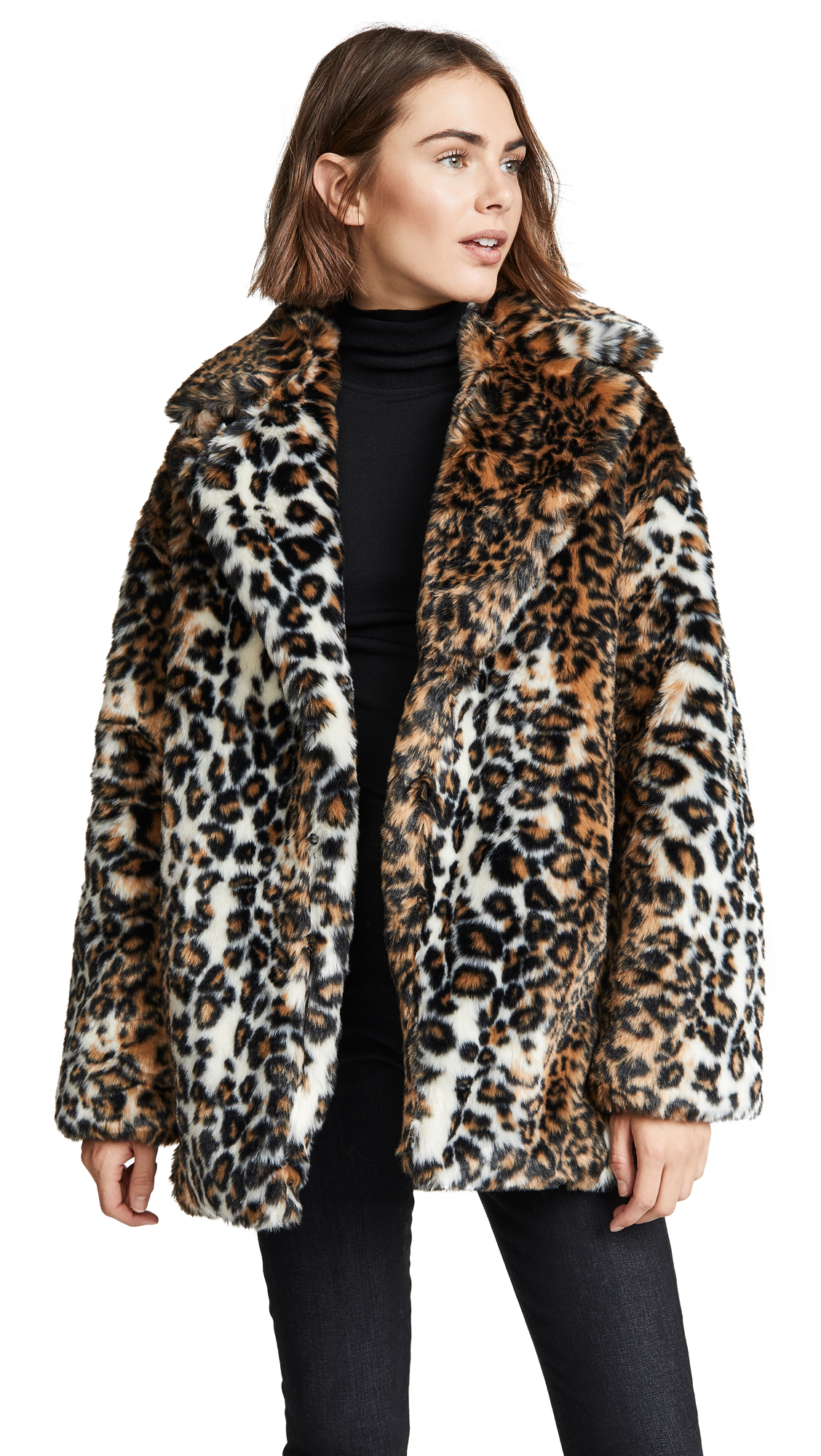 Pam & Gela Leopard Faux Fur Coat In Leopard