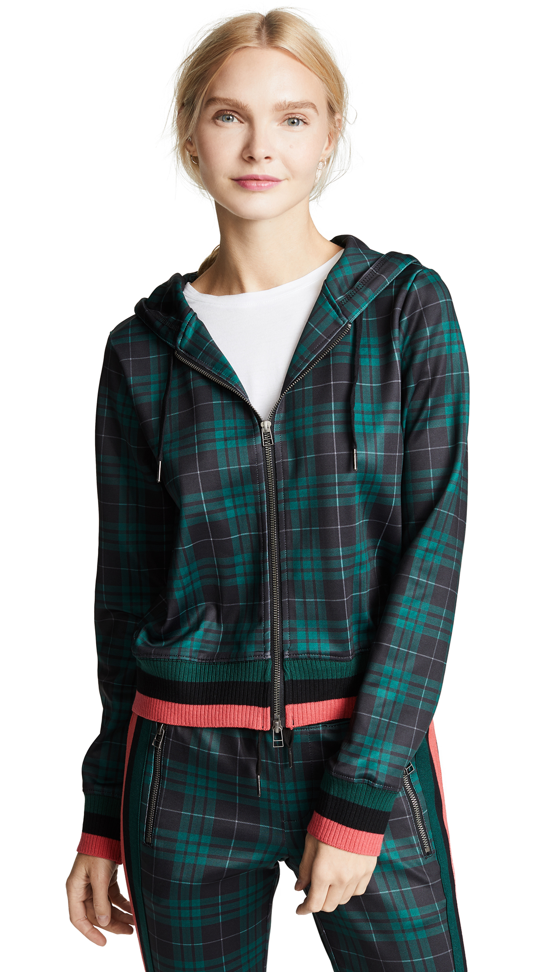Stewart Plaid Crop Zip Hoodie in Stewart Green