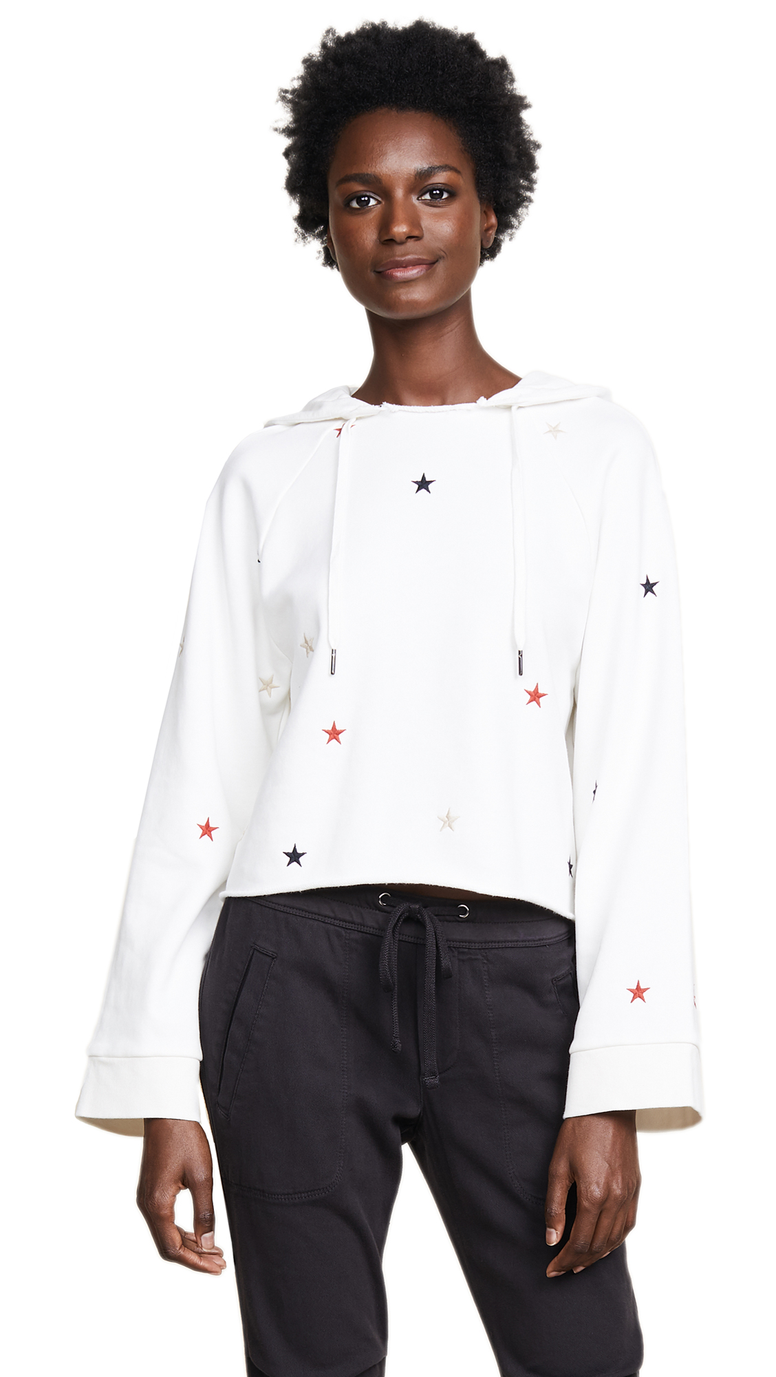 CROPPED HOODIE WITH EMBROIDERED STARS