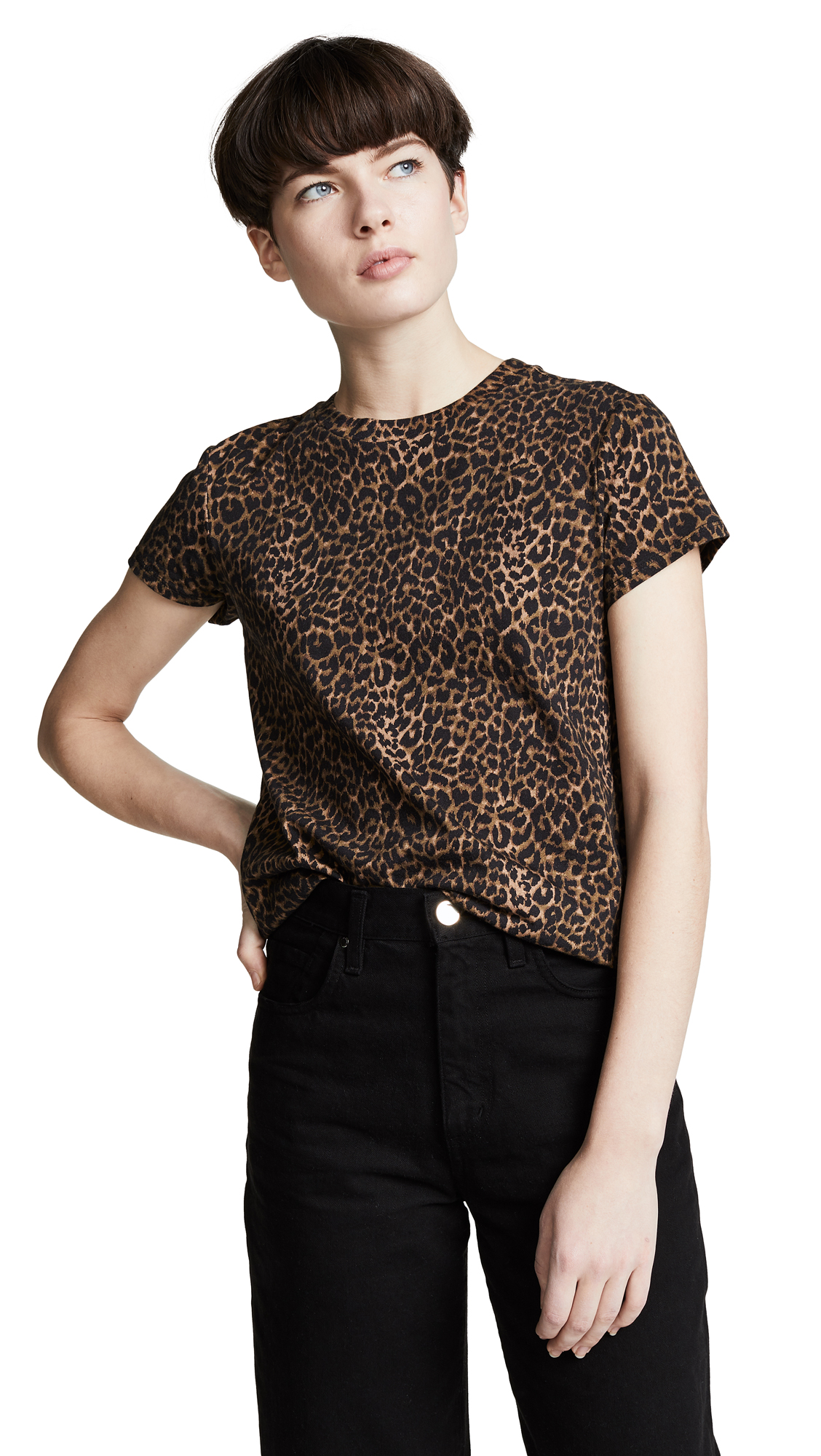 Pam   Gela Mini Leopard Basic Crew Tee In Leopard Print  1901970ed