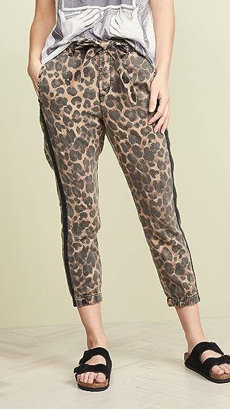 Pam & Gela Pants Leopard Pants With Sash