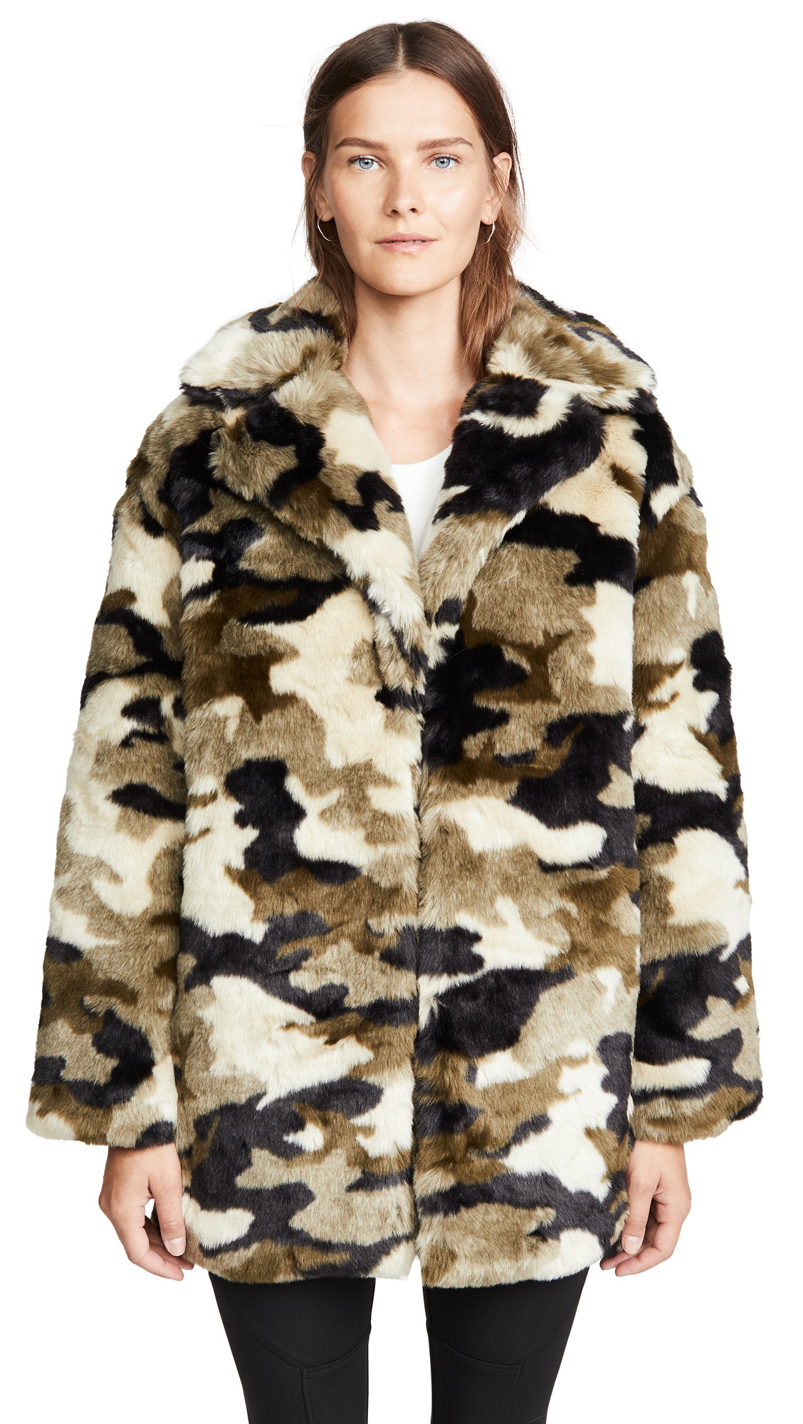 Buy Pam & Gela Camo Faux Fur Coat online beautiful Pam & Gela Clothing, Jackets