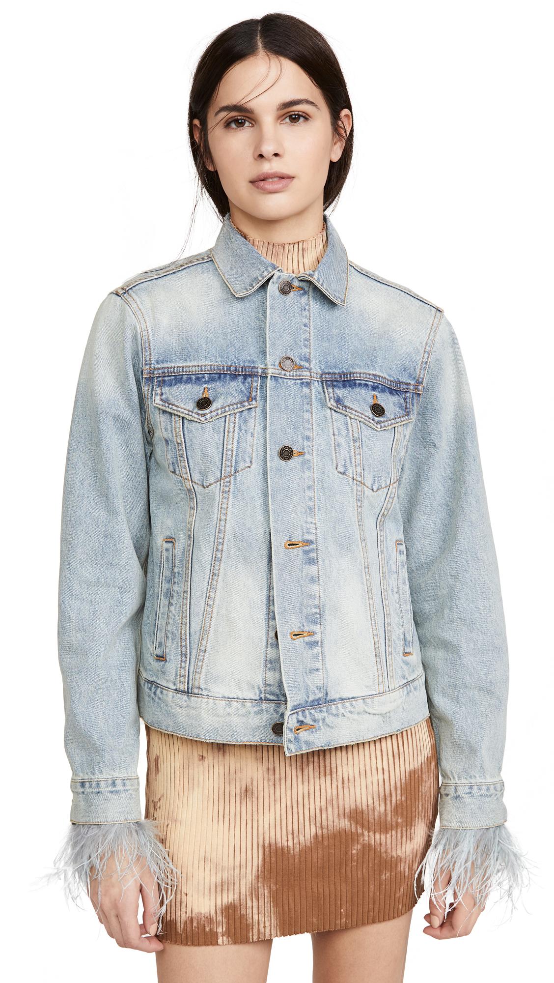 Buy Pam & Gela Feather Cuffed Denim Jacket online beautiful Pam & Gela Clothing, Jackets
