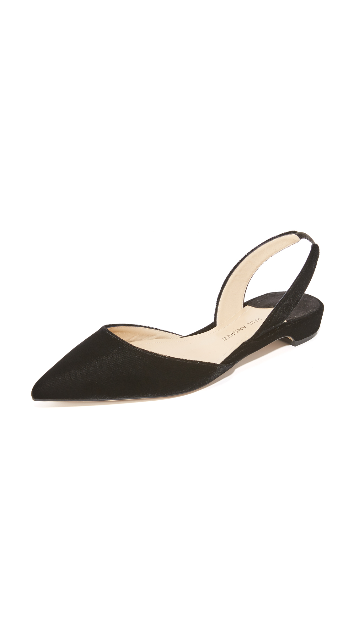 Plush velvet Paul Andrew pumps in a pointed toe profile. Elastic inset at slingback strap. Low, covered heel and leather sole. Fabric: Velvet. Made in Italy. Size & Fit. Available sizes: 35,35.5,36,36.5,37,37.5,38,38.5,39,39.5,40