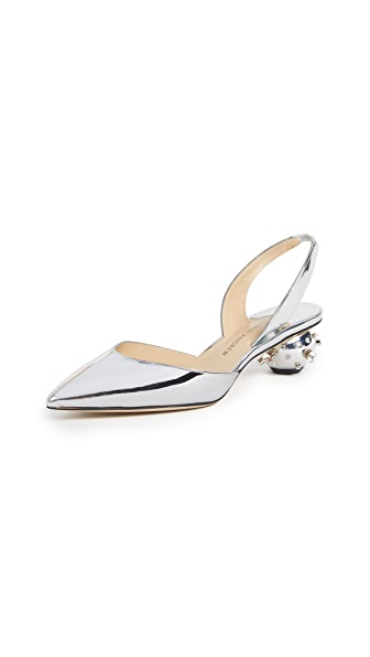 Paul Andrew Spiked Ball Heel Slingback Sandals In Silver