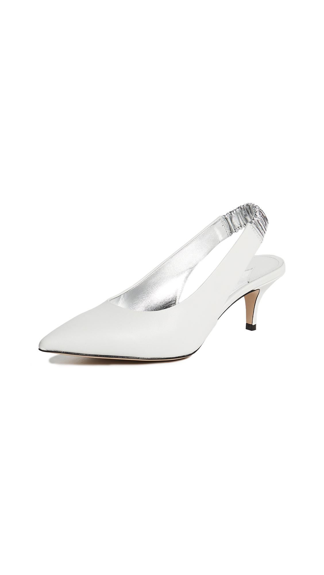 Paul Andrew Carpanthian 55 Slingback Pumps - White/Silver