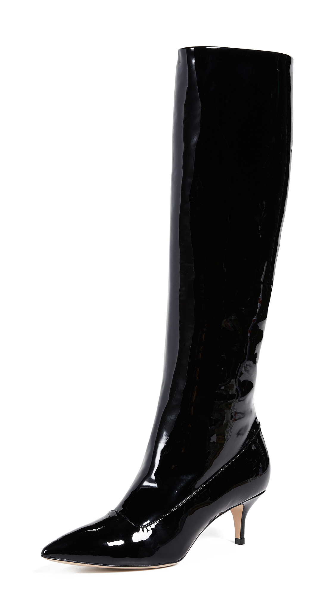 Paul Andrew Nadia Patent Leather Boots - Black