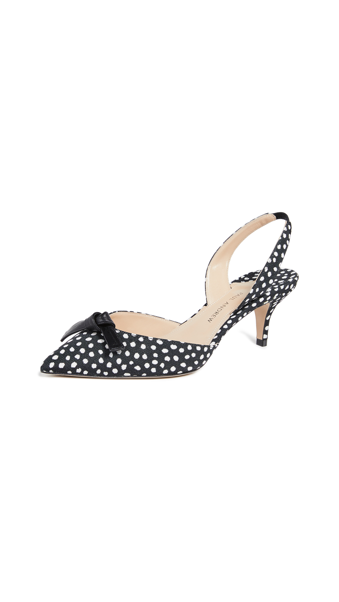 Paul Andrew Rhea Knot 55 Slingback Pumps - Black/White