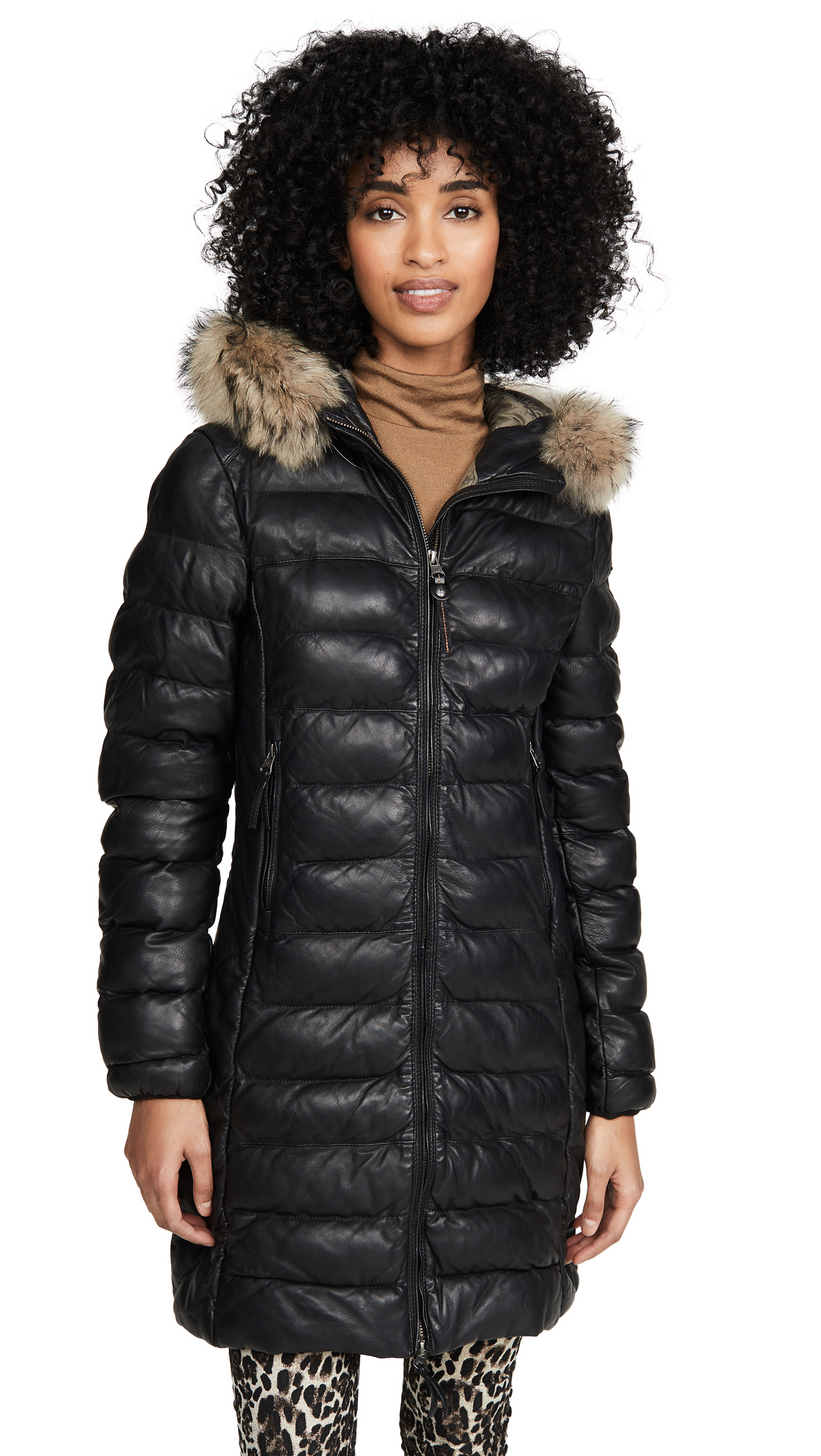 Buy Parajumpers online - photo of Parajumpers Demi Leather Puffer Jacket