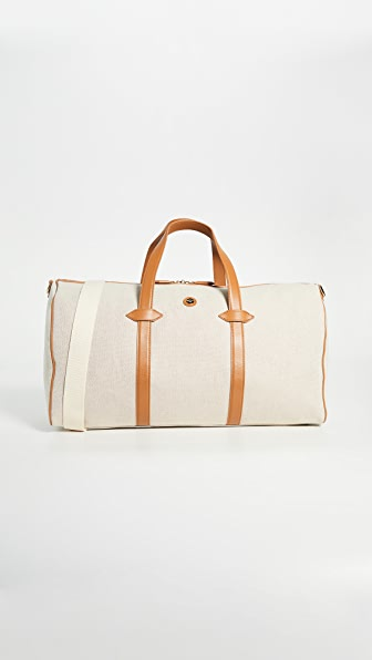 Paravel Main Line Duffel Leather-trimmed Canvas Weekend Bag In Cream