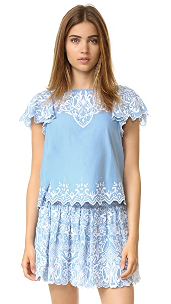 Parker Tier Embroidered Top - Chambray at Shopbop