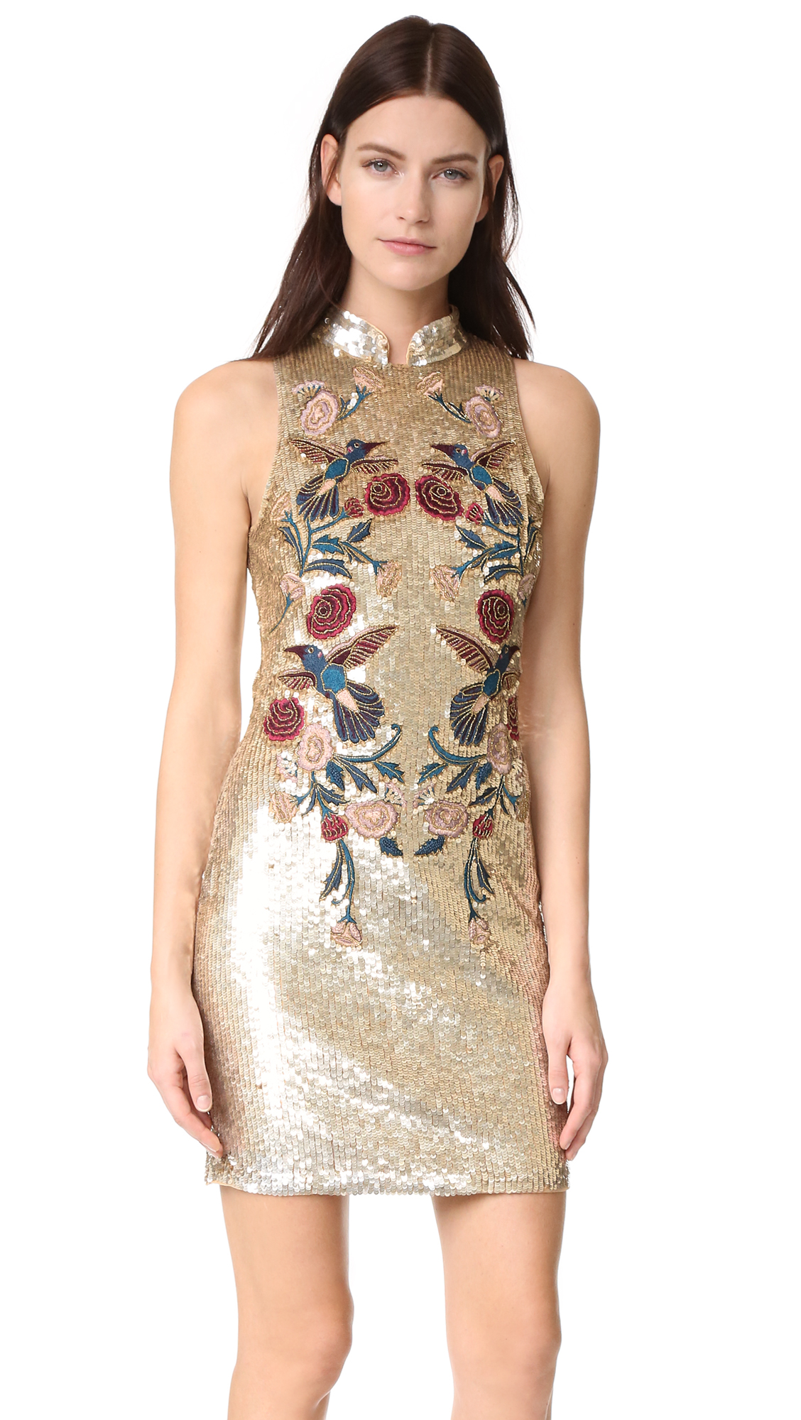 Mirrored sequins and jewel tone embroidery bring glamorous style to this Parker mini dress. Flirty back cutout and mandarin collar. Button closures and exposed zip in back. Lined. Fabric: Beaded mesh. Shell: 100% nylon. Lining: 95% polyester/5% lycra