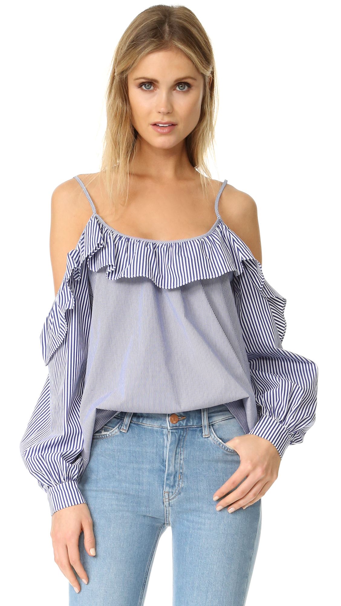 A striped, shoulder baring Parker top with a ruffled overlay at the neckline. Adjustable shoulder straps. Long sleeves and button cuffs. Fabric: Poplin. 100% cotton. Dry clean. Imported, China. Measurements Length: 26in / 66cm, from shoulder Measurements from