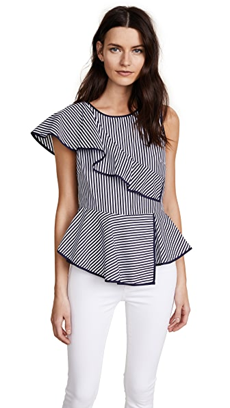 Parker Carly Top In Navy/White