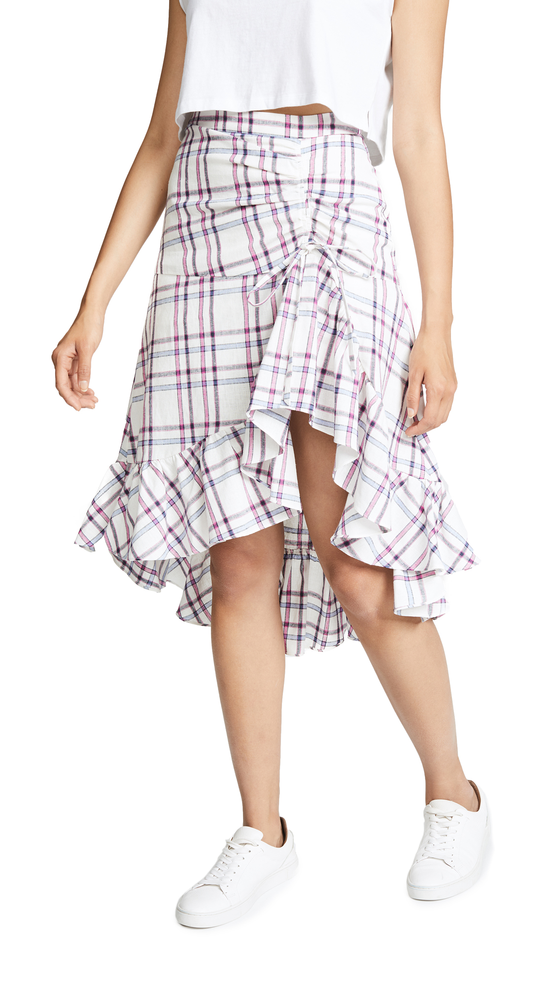 Kylie Check-Print Ruched Flounce Skirt, Plaid