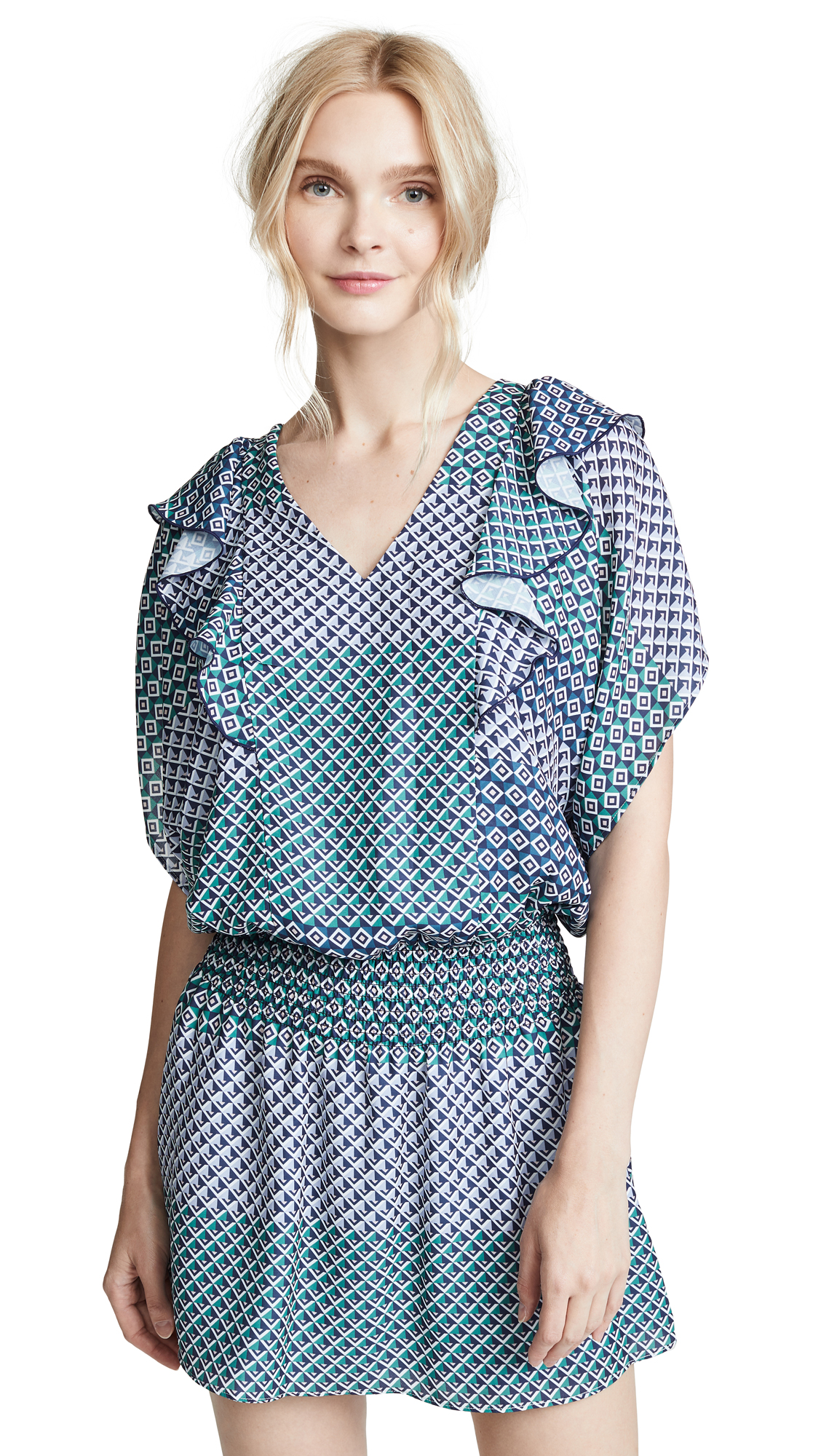 PARKER Luisa Geometric-Print Short-Sleeve Mini Dress in Cese