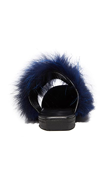 Parme Marin Two Band Fur Mule