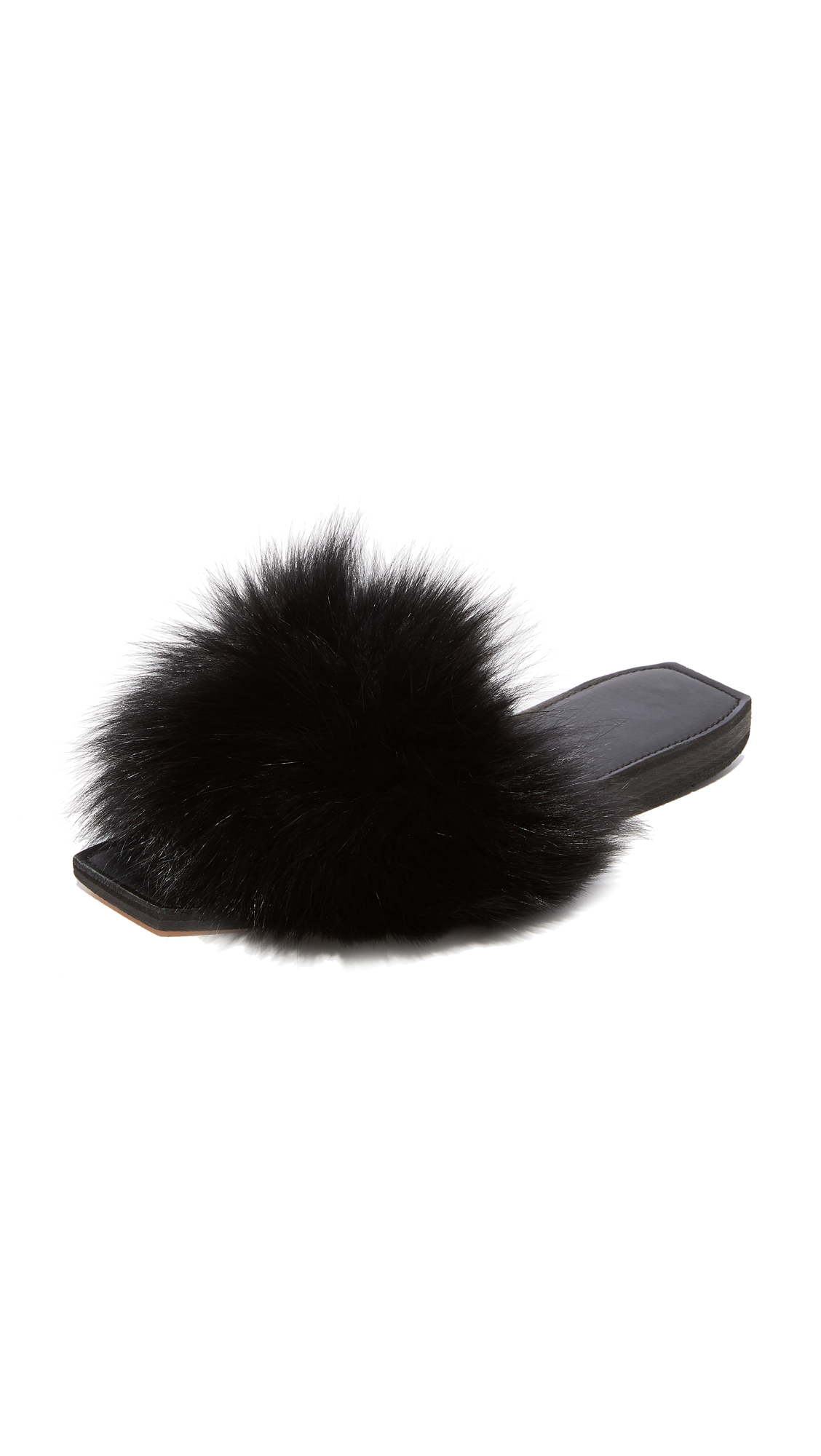 Parme Marin Furry Baby Slide - Black Fur/Black