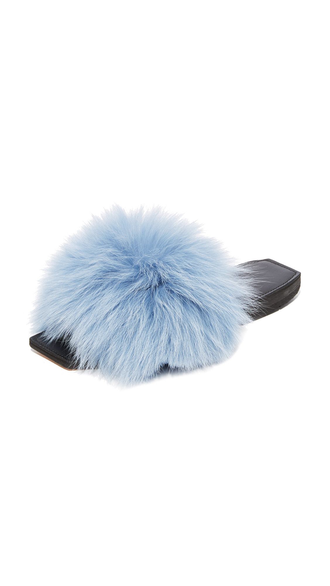 Parme Marin Furry Baby Slide - Blue Fur/Black