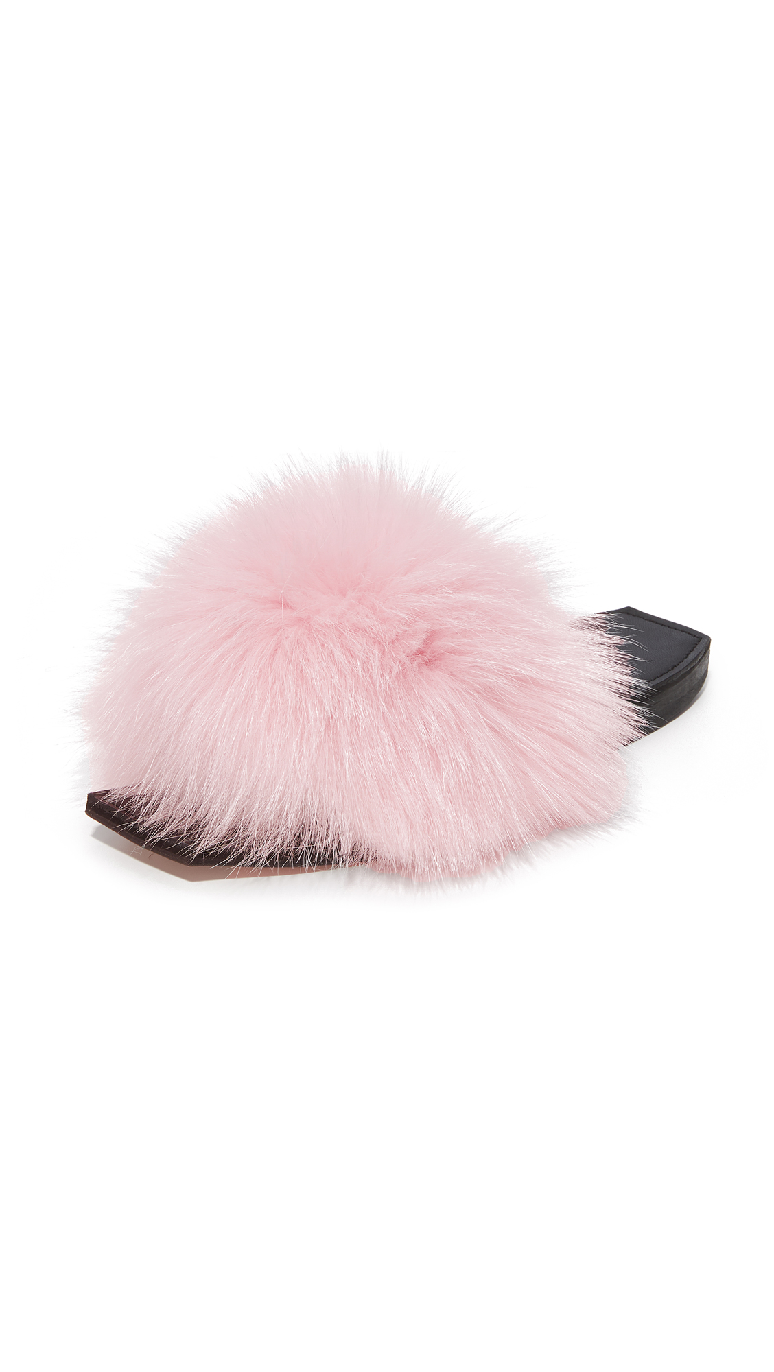 Parme Marin Furry Baby Slide - Pink Fur/Black
