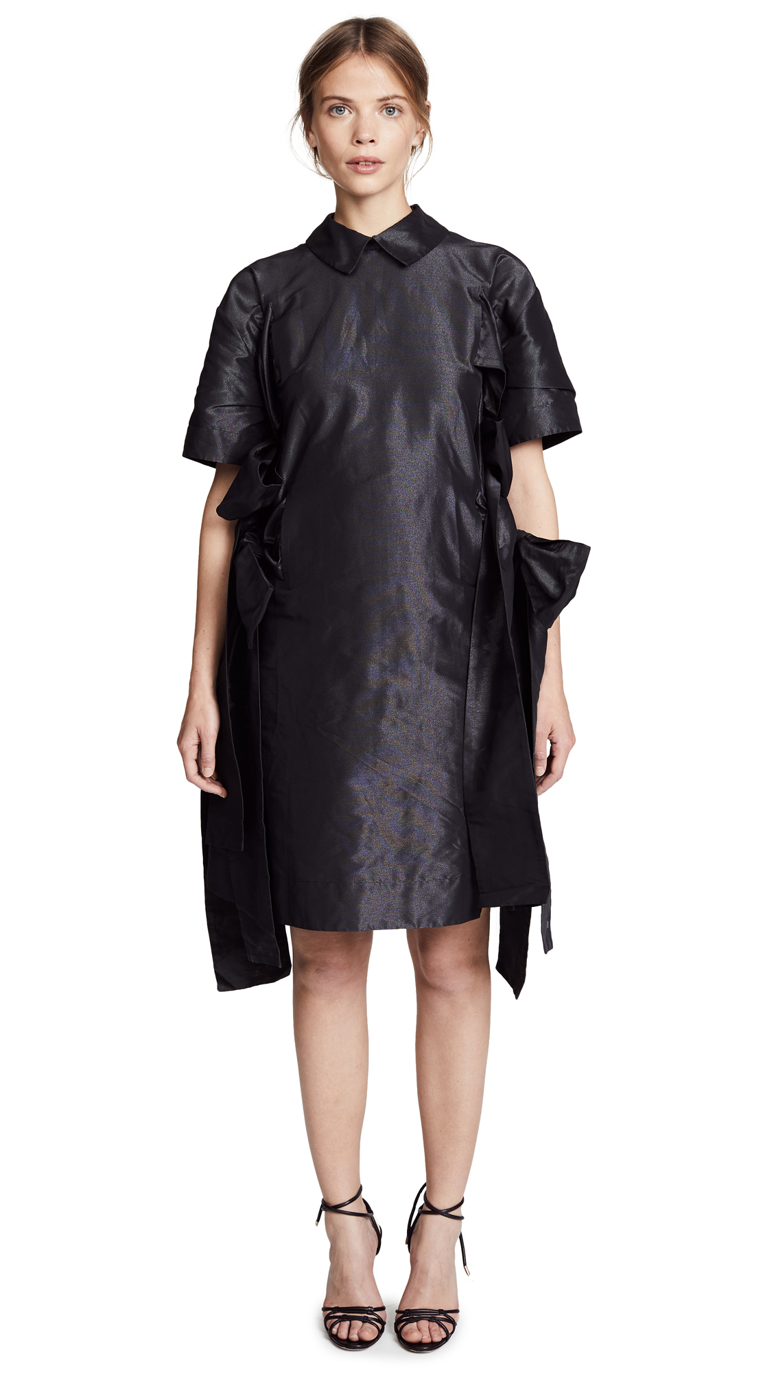 Paskal Point Collar Dress with Ties In Black