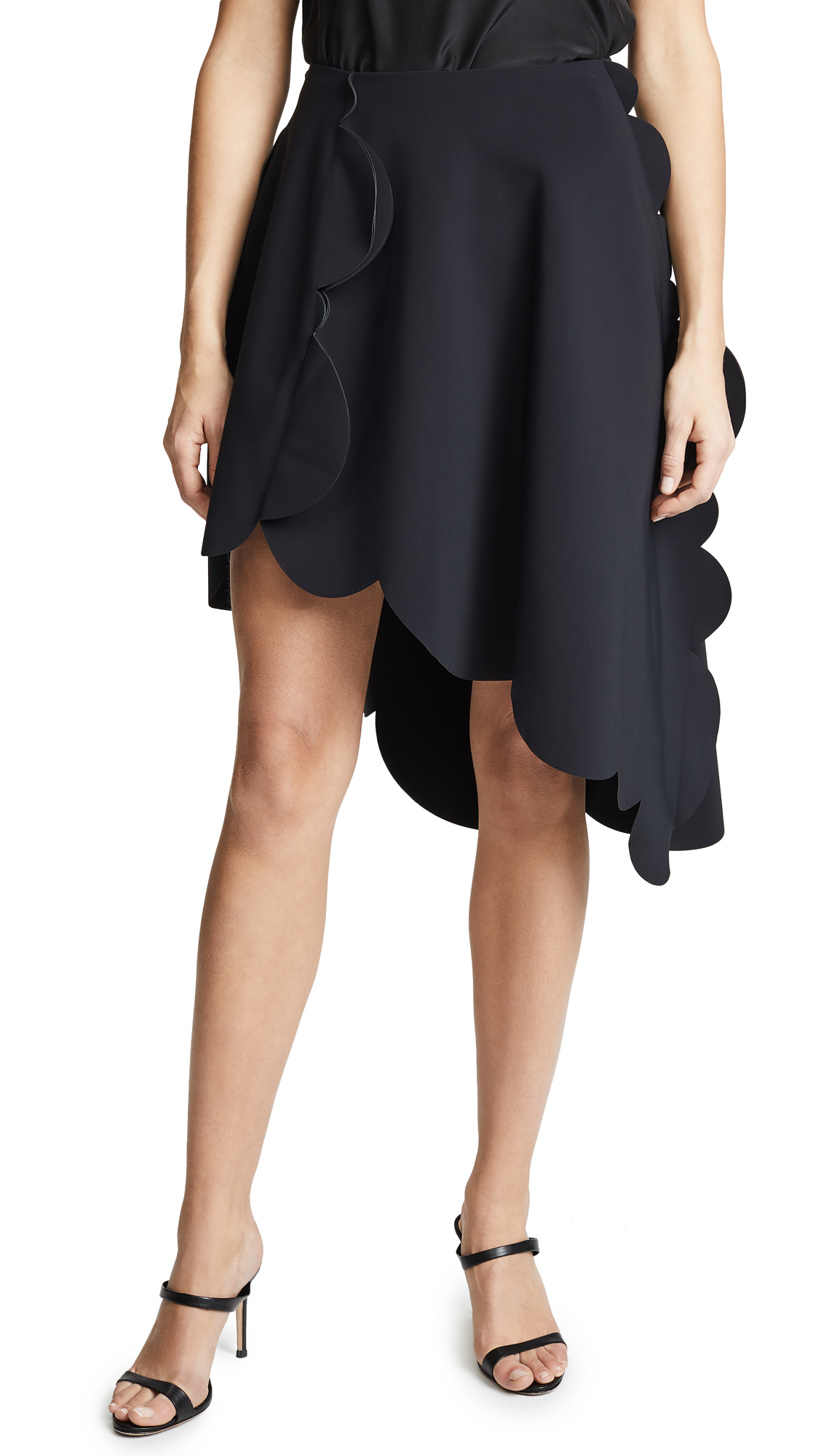 Paskal SCALLOPED SKIRT WITH DIAGONAL HEM