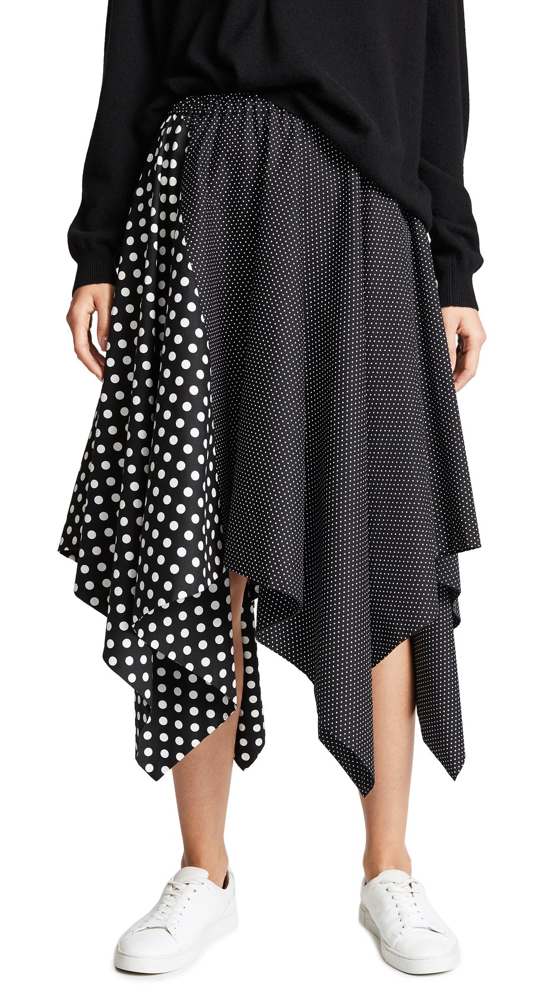 Paskal Elastic Waistband Flared Skirt In Mixed Polka Dots