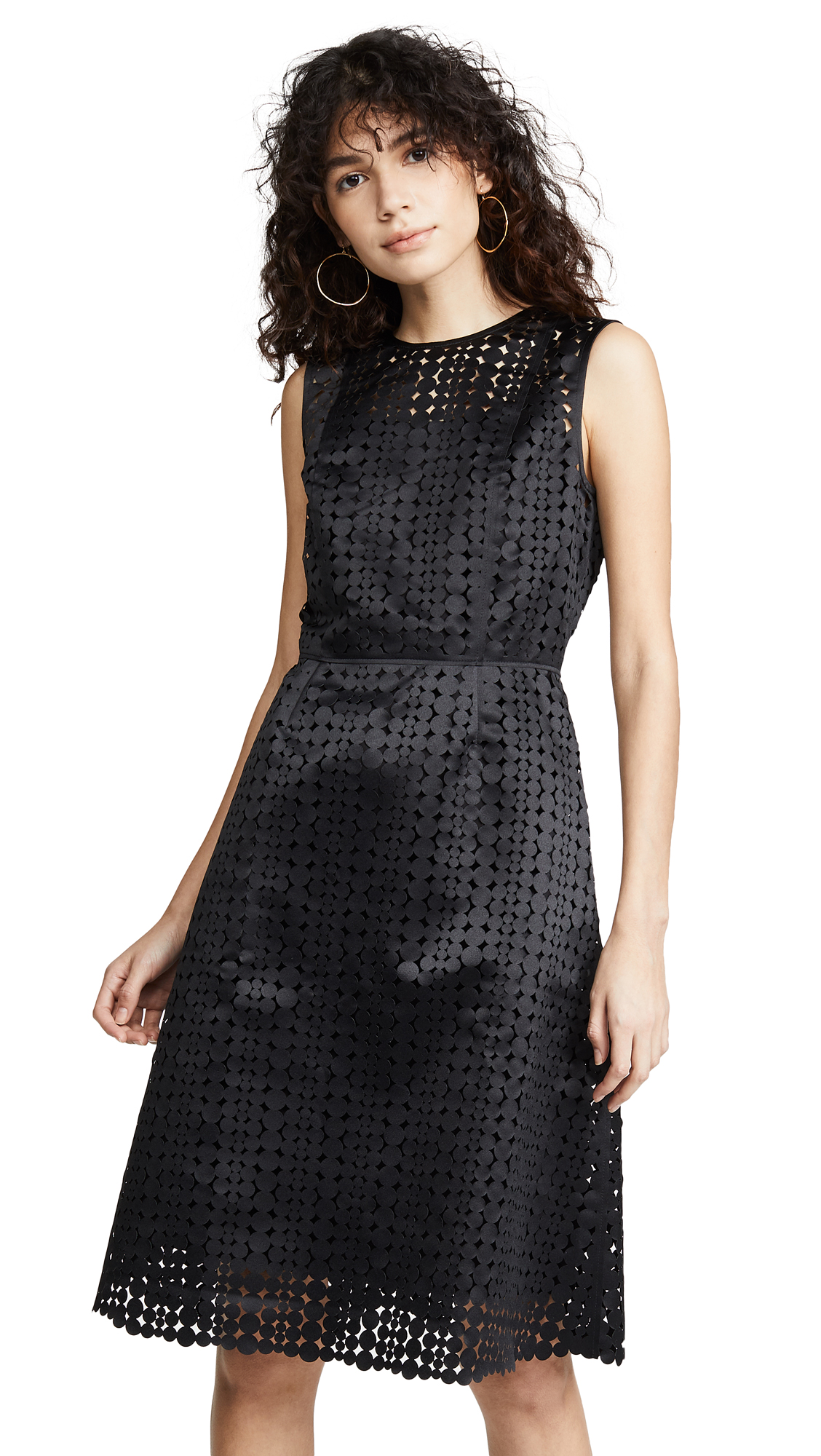 Paskal Laser Cut Sleeveless Dress - Black